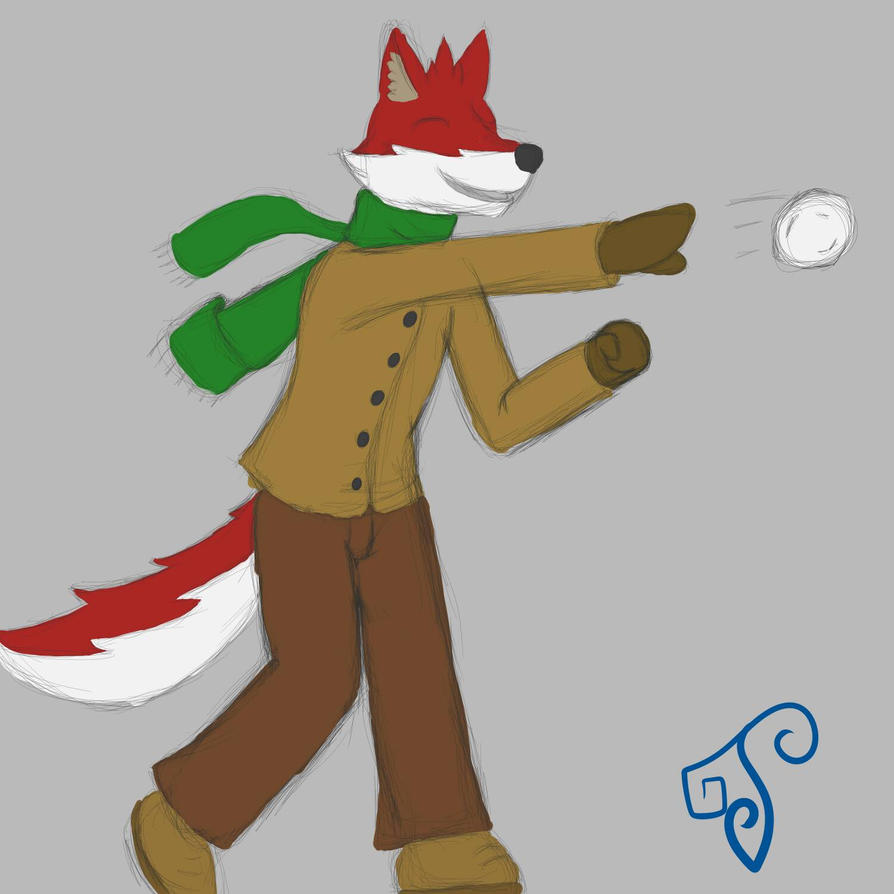 Throwing a snowball :3 by MikeFurryWolf
