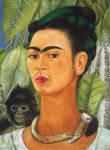 Frida Kahlo monkey portrait by Moni3