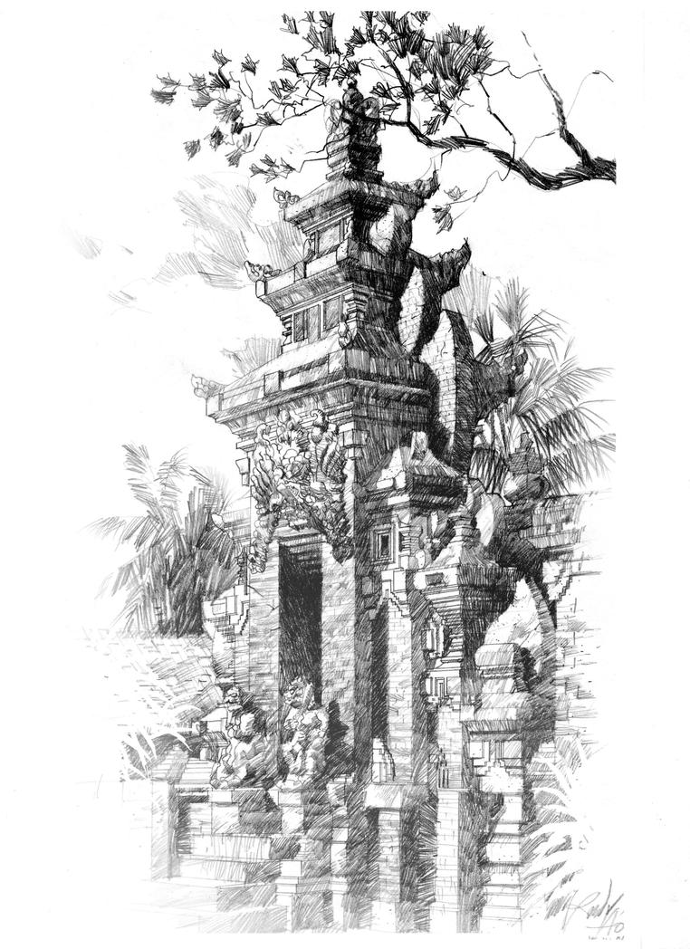 Download Gambar Sketsa Pura Bali Sketsa Gambar
