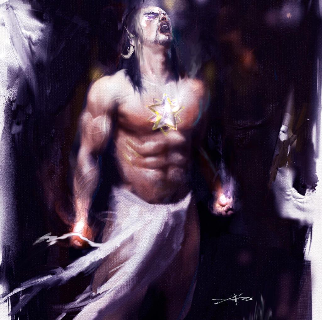 gatot kaca in painting by rudyao