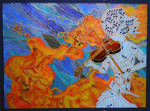 violin elements - glass painting
