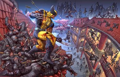Wolverine vs Ninjas Commission in color