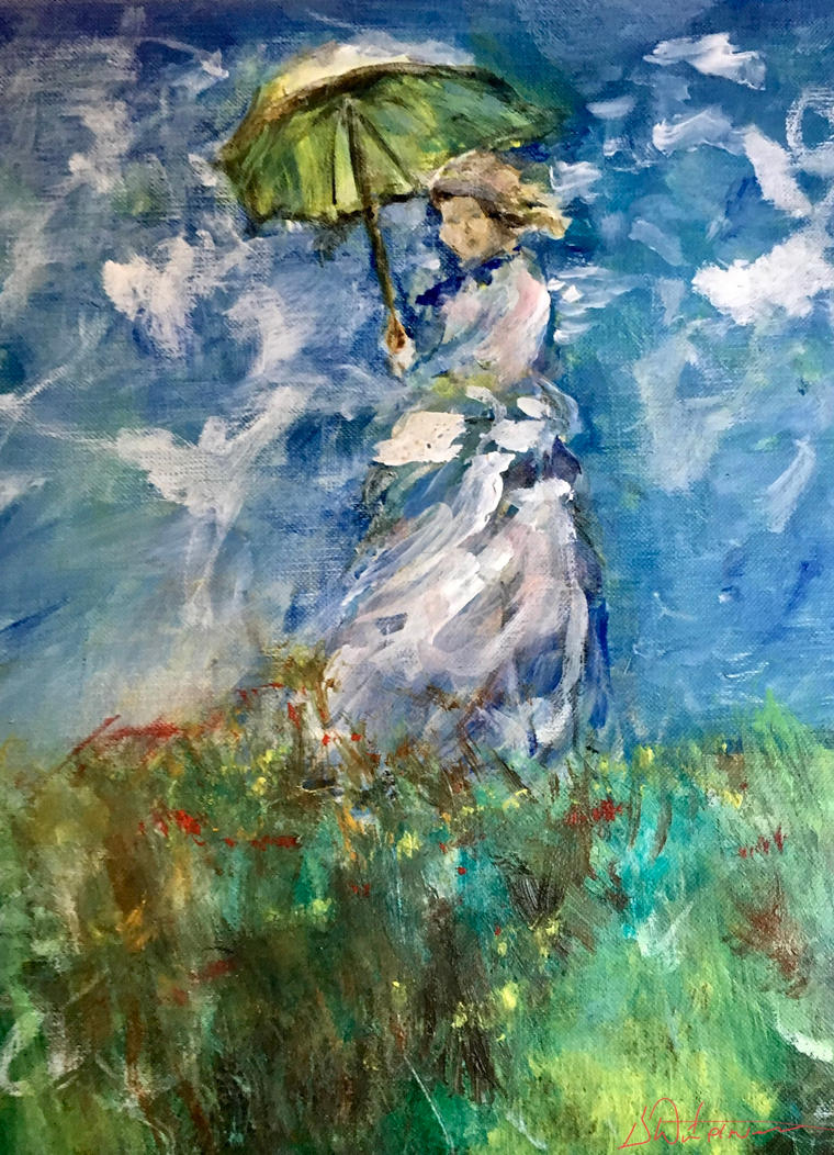 Monet ,Woman with parasol by RickWaterman