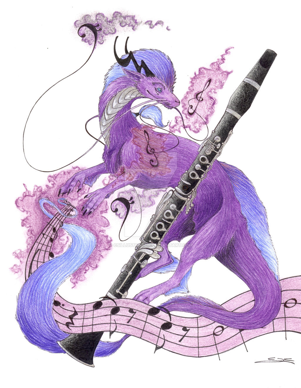 Purple Is For Clarinet By CSIllustrator