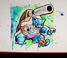 Mega Blastoise with Squirtle by Jaylynessa