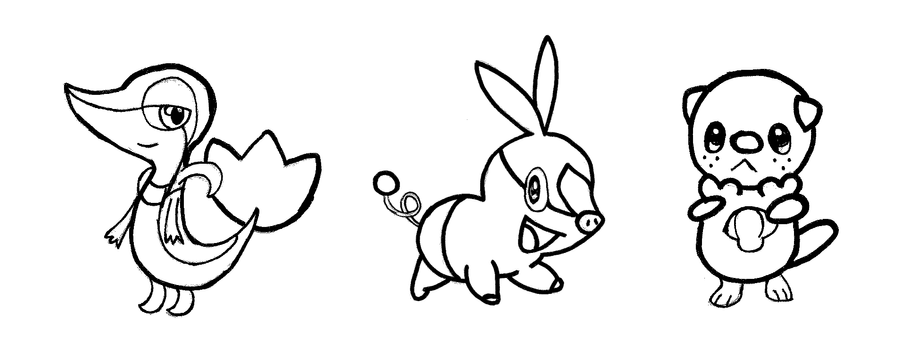pokemon gen 5 starters bw by drizzledre4 - Grass Type Pokemon Coloring Pages