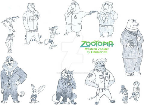 (Sketchdump) Western Zodiac - Zootopia style