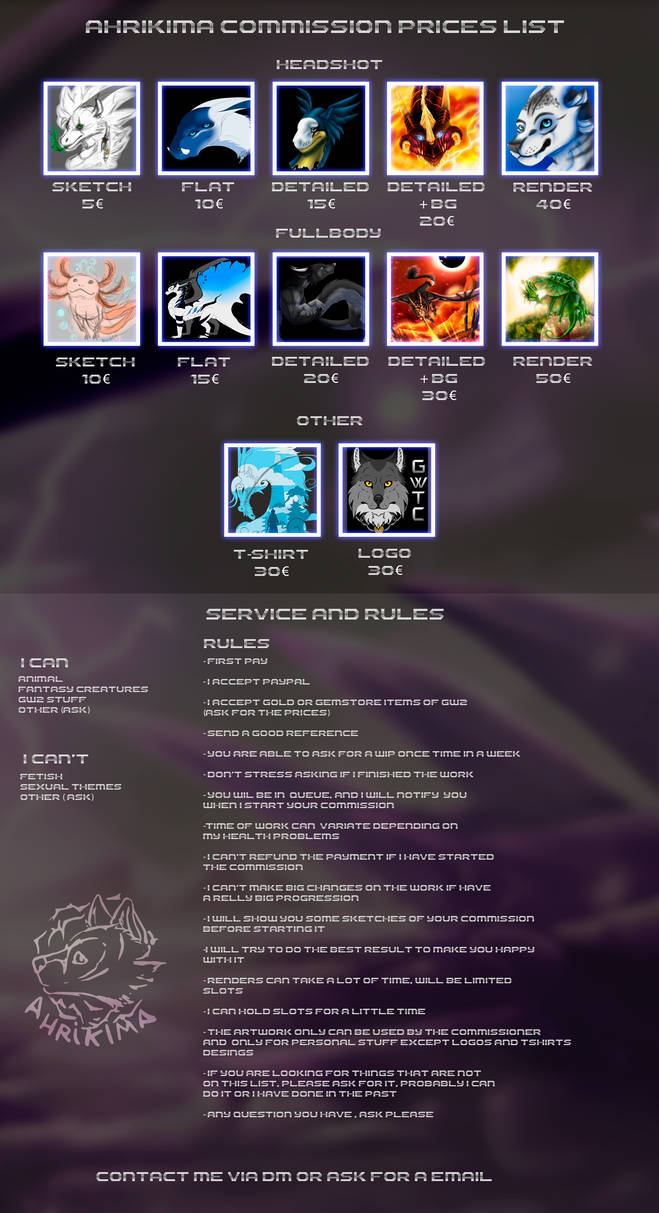 Commission Price List 2020 - Open -