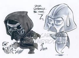 Chibi Kylo Ren and Vader