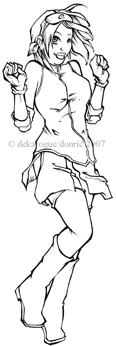 dancing sakura lineart by dekarogue