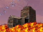 house in flame