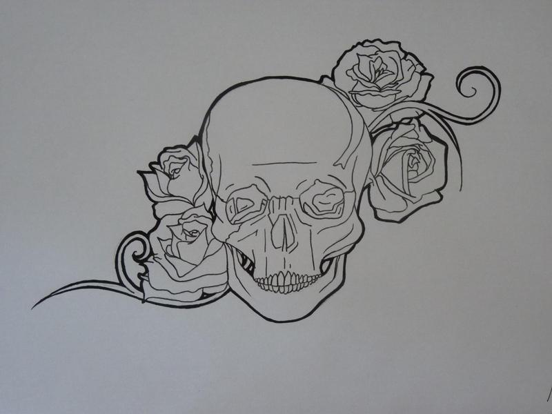 skull and roses tattoo design by megrose29 on deviantart. Black Bedroom Furniture Sets. Home Design Ideas