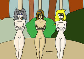 3 Naked Girls Tied in the Jungle by Boondoy