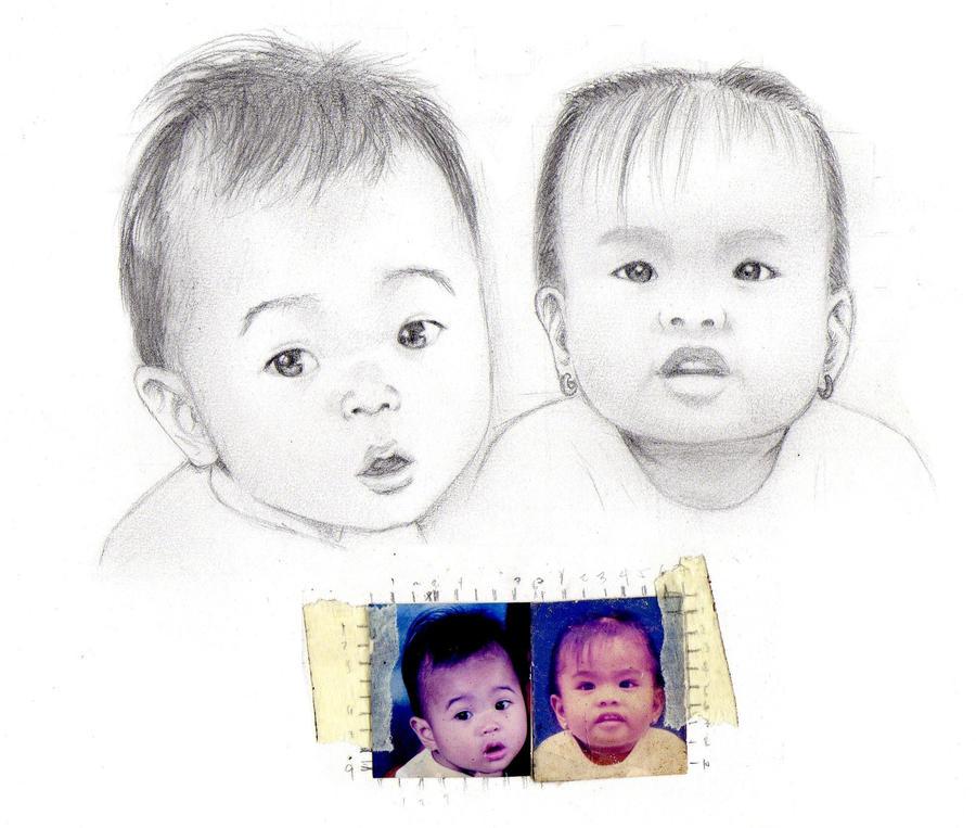 kids' portraits WIP by dracaena-akira