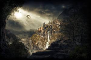 Skyrim dragon adrift by Herbrex