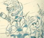 Sketch Comm - Steel Hooves and Littlepip