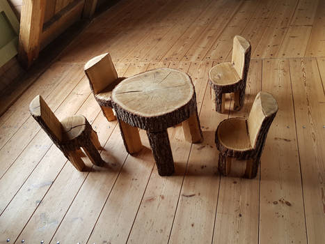 CHAIRS AND TABLE MADE OUT OF TREE TRUNKS