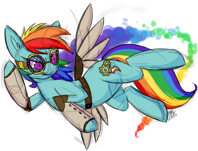Commission - Steampunk Rainbow Dash by xNIR0x