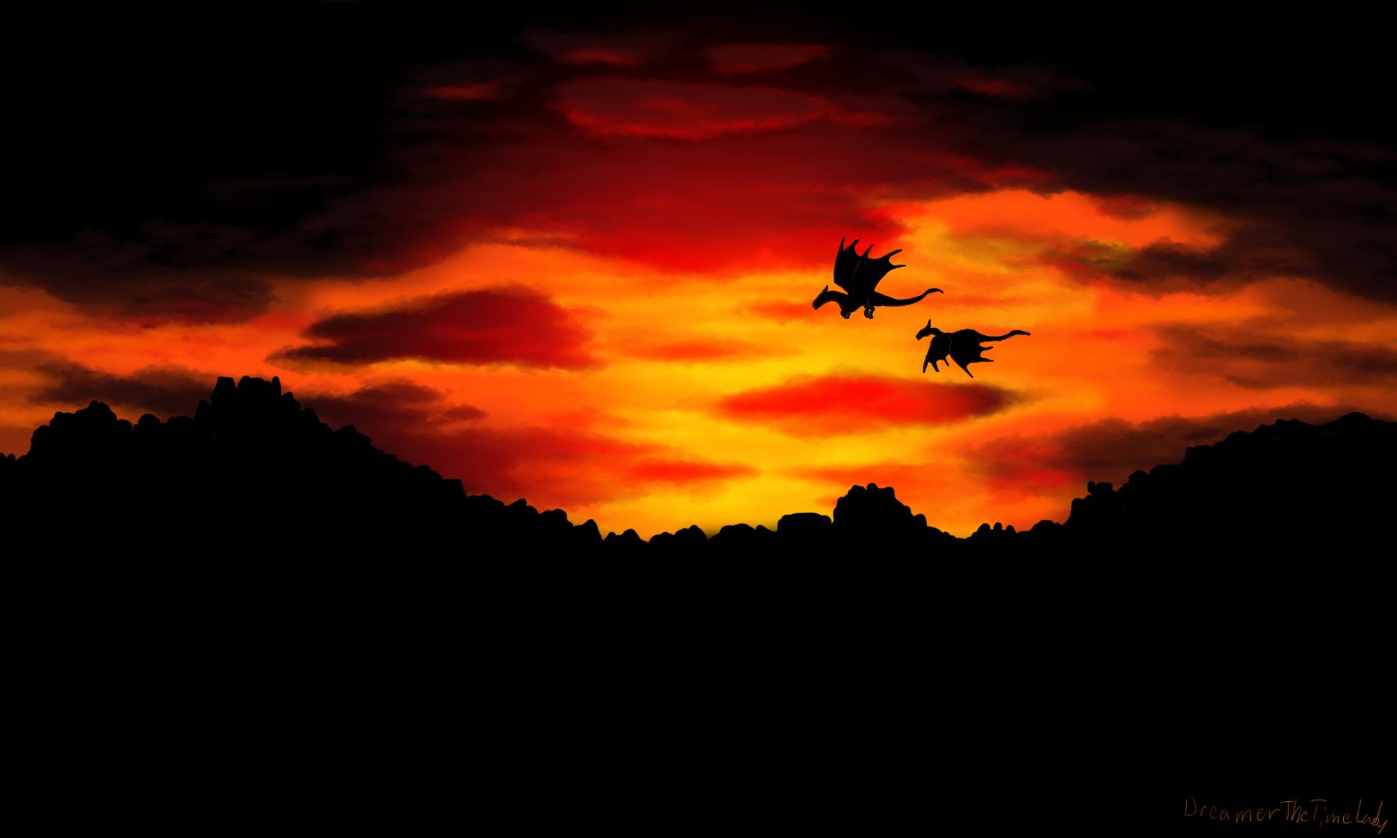Dragon's Sunset by DreamerTheTimeLady