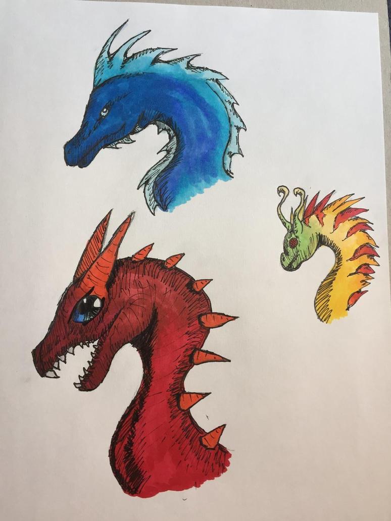 Random dragon sketches by DreamerTheTimeLady