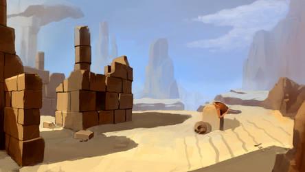 Study. Dead guy in the desert