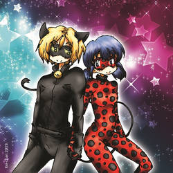 Ladybug and Cat Noir by kei-chan00
