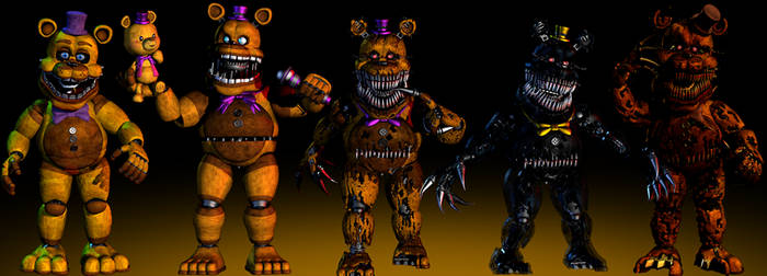 Fredbear Models Showcase - [FNaF 4 Blender]