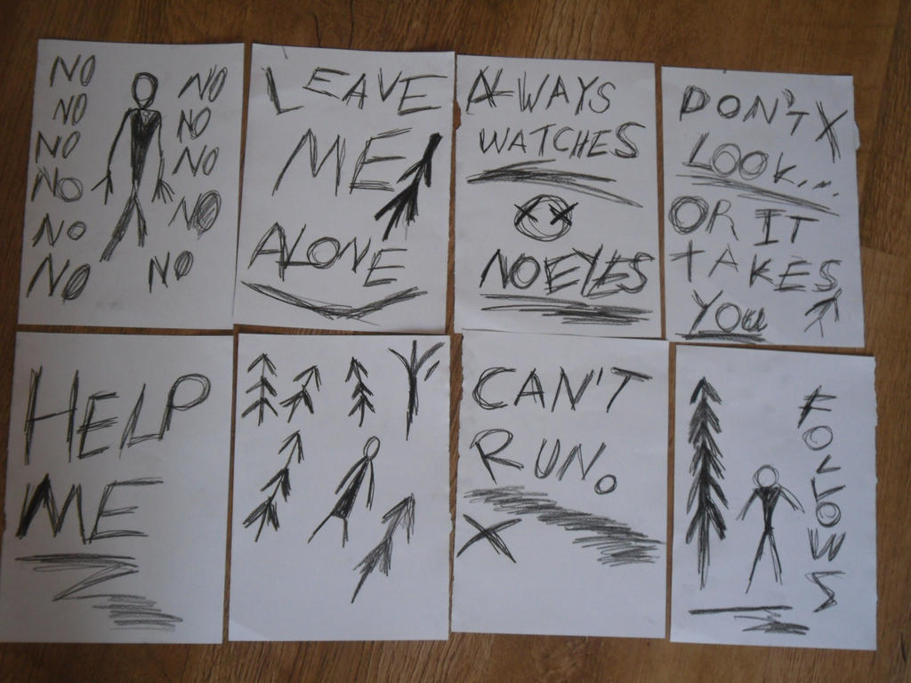 Slenderman's All 8 Notes by Rainblaze-Art on DeviantArt