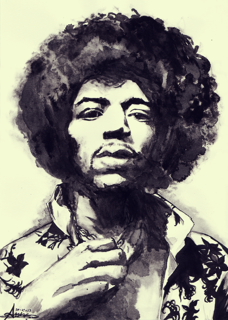 Jimi Hendrix - Ink by Kiulani