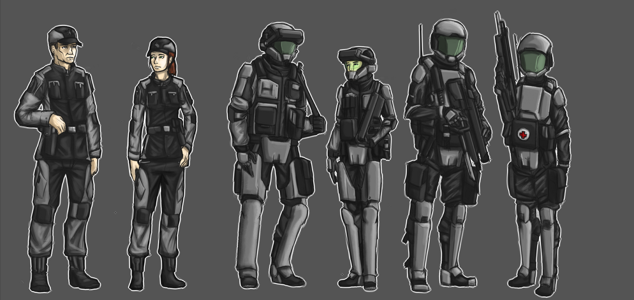 COMMISSION: Sesetran Uniforms Part 1 by Dehzinn