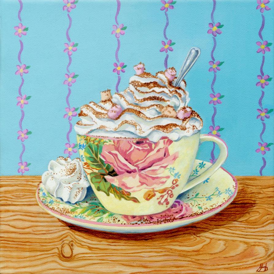 Hot Chocolate Deluxe with Meringue by LynneHendersonArt