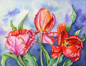 Parrot Tulips 2 by LynneHendersonArt