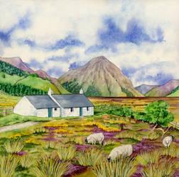 Black Rock Cottage, Glencoe by LynneHendersonArt