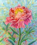 Peony Millefiori acrylic on canvas 50 by 60cm by LynneHendersonArt