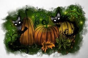 Pumpkin cats colored