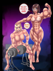 Comet Girl and Heather Working out by kittyelfie