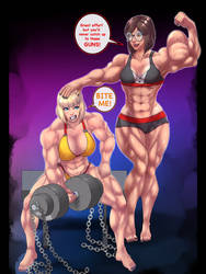 Comet Girl and Heather Working out in gym Outfits by kittyelfie