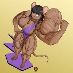 Candi in Mouse Form Giving a Little Flex by kittyelfie