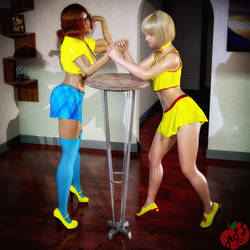 Heather and Cherry Arm Wrestling