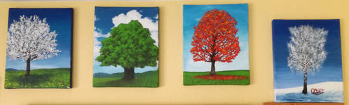 Four tree paintings
