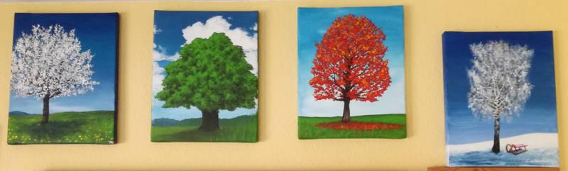 Four tree paintings