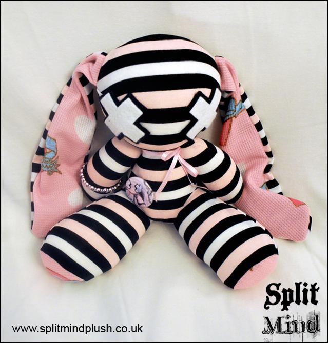 Pink Striped Bunny by splitmindplush