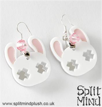 White Bunny Earings by splitmindplush