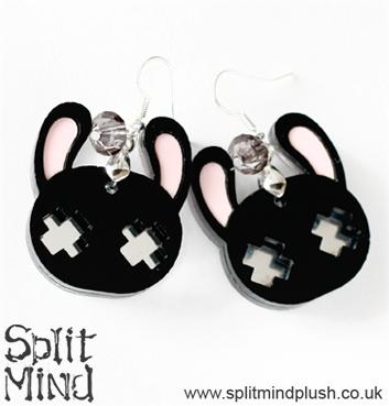 Black Bunny Earings by splitmindplush
