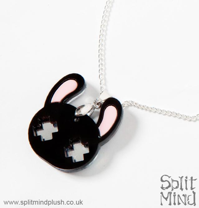 Black Bunny Necklace by splitmindplush