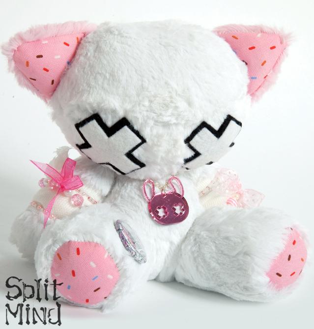 White Candy Kitten by splitmindplush