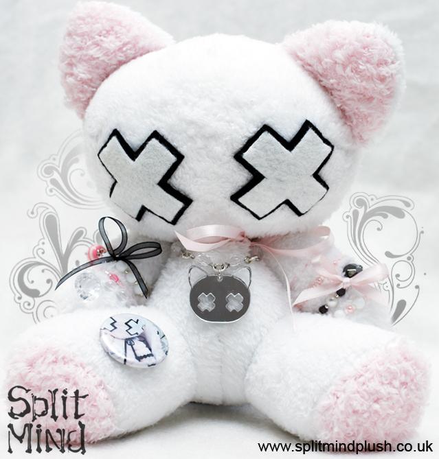 White and Pink Kitten by splitmindplush