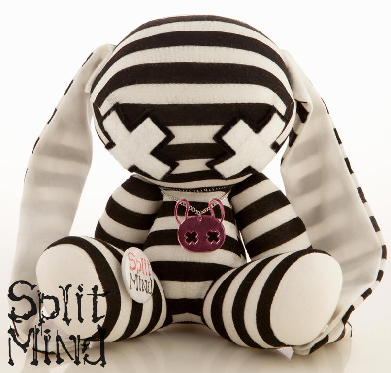 Silver Striped Bunny by splitmindplush