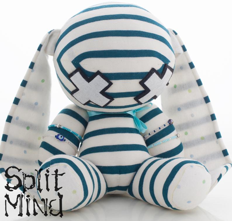 Teal Banded Bunny by splitmindplush