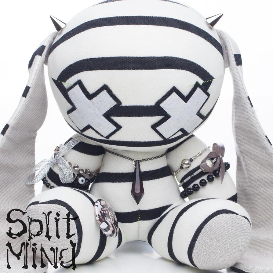 White Banded Bunny by splitmindplush